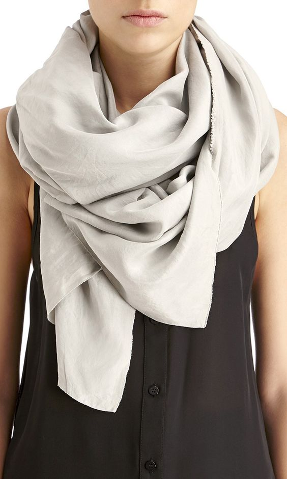 Luxurious silk scarf in a beautiful dusty sage color. Ethically manufactured in LA & completely sustainable!: