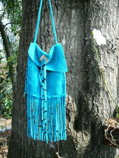 Turquoise Suede Belt Bag  Glass Beads on Handcut by BrokenDrum, $40.00