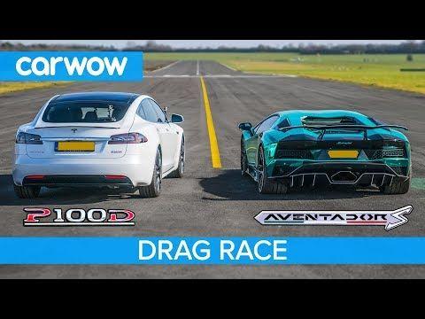 Lamborghini Aventador S V Tesla Model S P100d Drag Race Rolling Race Brake Test Youtube Tesla Roadster New Tesla Roadster Tesla