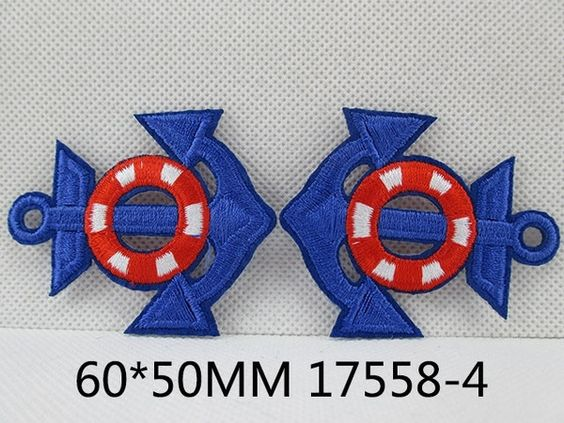 1 Piece - Embroidered Anchor Patch - Royal blue and Red approx. 2 1/3 — bestribbons.com