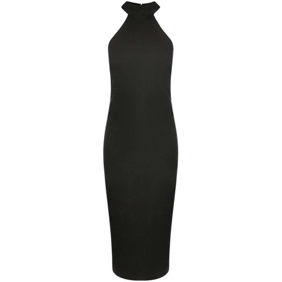 Boohoo Kayley Side Strap High Neck Midi Dress ($30) ❤ liked on Polyvore featuring dresses, midi cocktail dress, bodycon dress, cage dress, boohoo dresses and green body con dress
