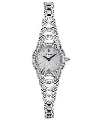 Bulova Watch, Women's Crystal Accent Stainless Steel Bracelet 19mm 96L139 - All Watches - Jewelry & Watches - Macy's