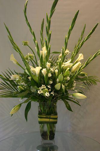 White arrangement lilies callas ornithogalum gladiolus