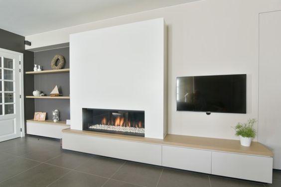 landelijke haardwand met gashaard kal fire geplaatst door haarden mvb referentieprojecten. Black Bedroom Furniture Sets. Home Design Ideas