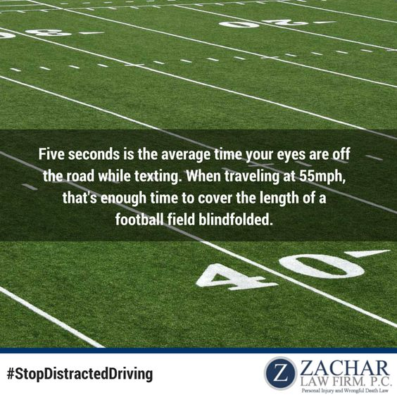 Five seconds is the average time your eyes are off the road while texting. That's enough time to cross an entire length of a football field. #StopDistractedDriving