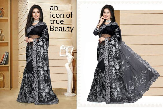 http://www.thatsend.com/shopping/lp/fvp/TESG213368/i/TE277126/iu/black-net-party-wear-saree  Black Net Party Wear Saree Apparel Pattern Embroidered. Work Hand Embroidery, Stone. Blouse Piece Yes. Embroidery Method Machine.