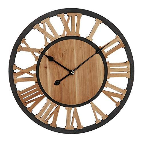 Shisedeco Home Decor Wall Clock Metal Solid Wood Noiseless Wall Clock Rustic Large Decorative Battery Opera In 2020 Metal Wall Clock Wall Clock Rustic Wall Clocks