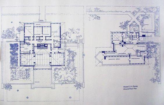 Frank Lloyd Wright Cheney House Floor Plan Blueprint With