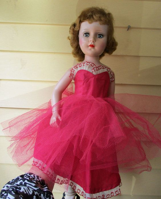 "Vintage doll dress/ballarina/tu-tu/red-white with hearts for 21""-22"" dolls #Unbranded"