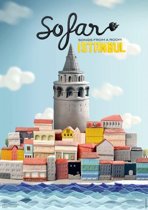 İlkay Alptekin'den Hamur İllüstrasyon Tekniğiyle Sofar Sounds Istanbul Posterleri * Bigumigu
