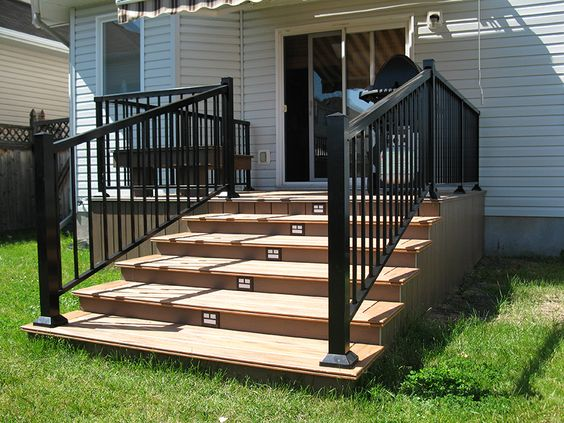 How Aluminum Is Made >> This small deck has a nice sized riser steps made with low maintenance decking. Each riser has a ...