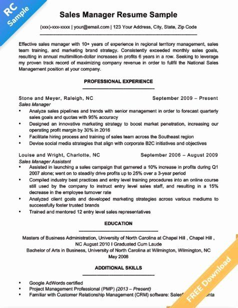 Objective For Sales Resume 2 Inspirational Use These Sales Manager Resume Tips Templates To Get The In 2021 Project Manager Resume Manager Resume Job Resume Samples