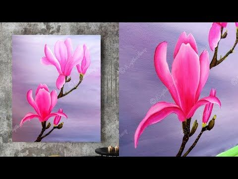 Acrylic Painting Tutorial Painting Large Canvas Art Paint Magnolia Flower Painting Youtube In 2020 Abstract Flower Painting Large Canvas Art Flower Painting