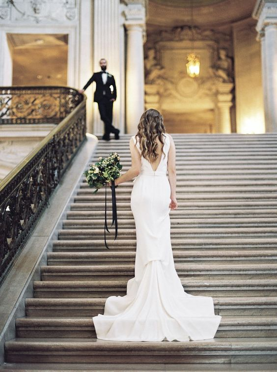 Chic City Hall Elopement First Look // Photography ~ Lara Lam: