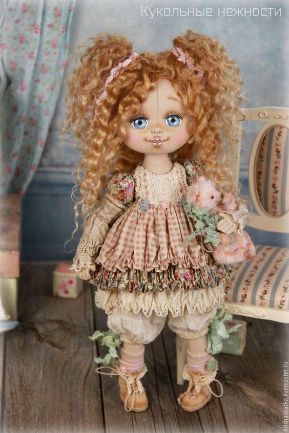 Купить Малышка Шебби . Кукла авторская текстильная - кремовый, розовый, розы, белый, шебби: