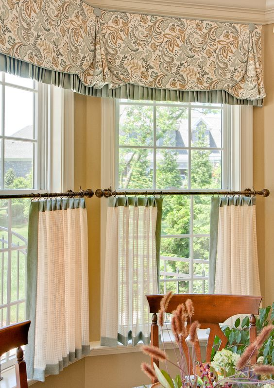 a casual window treatment consisting of a contrast-trimmed valance and contrast-trimmed cafe curtains: