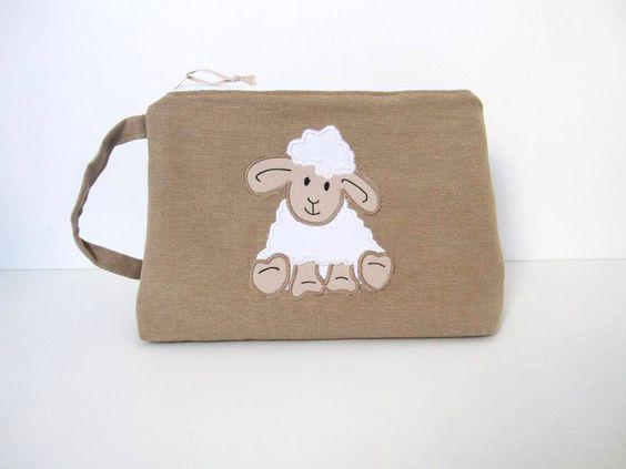 Trousse de toilette personnalisée mouton blanc coton beige