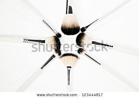 Brushes for make-up, isolated on white background