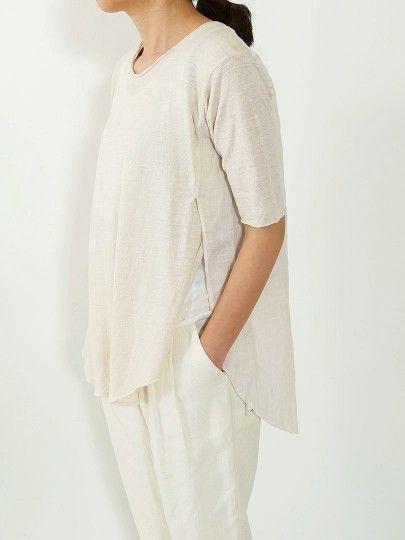linen slit short sleeve pullover