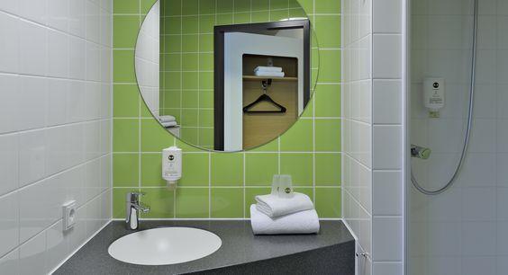 Badezimmer im B&B Hotel Karlsruhe