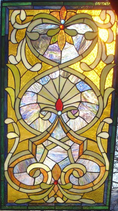 Tangerine Fan Stained Glass Window