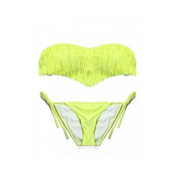 Women Sexy Tassel Strapless Bikini Sets Bandeau Padded Swimsuit... (1400 RSD) ❤ liked on Polyvore featuring swimwear, bikinis, light yellow, women swimwear, bikini bathing suits, sexy swimsuits, sexy bathing suits, bandeau bikini and swim suits
