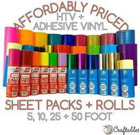 Affordably Priced And Packaged With Care Craftables Vinyl Rolls And Sheets 5 10 25 And 50 Roll Options Cricut Vinyl Cricut Supplies Cricut Tutorials