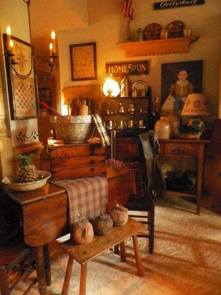 Primitive Living Room Decor: Primitives, Living Rooms And Rustic Farmhouse On Pinterest