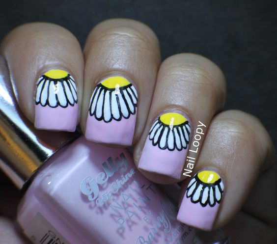 nail loopy: BARRY M ROSE HIP  HALF MOON DAISIES