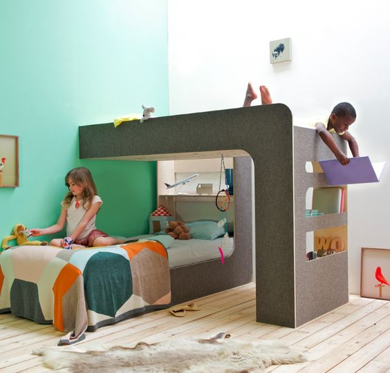 The Upndown bed. Can be used as a traditional bunk bed, as two stand-alone beds, or in creative combinations like this.: