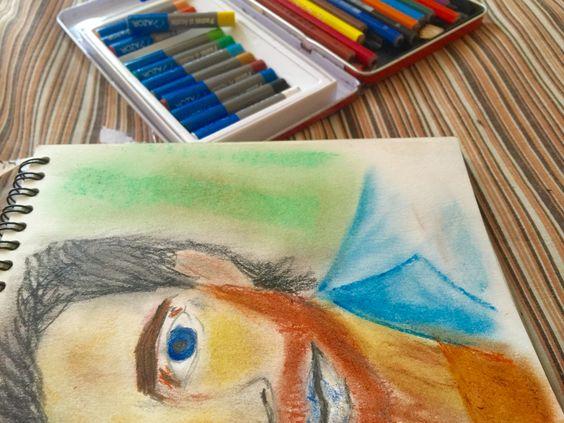 Colores pastel oleo  Hombre en vida