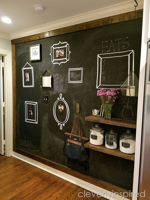 Stained Frame Around Chalkboard Wall Cocinasrusticas Chalkboard