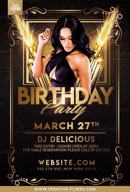 Check Out Elegant Birthday Flyer Psd Templates Creative Flyers Birthday Flyer Party Flyer Birthday Party Design