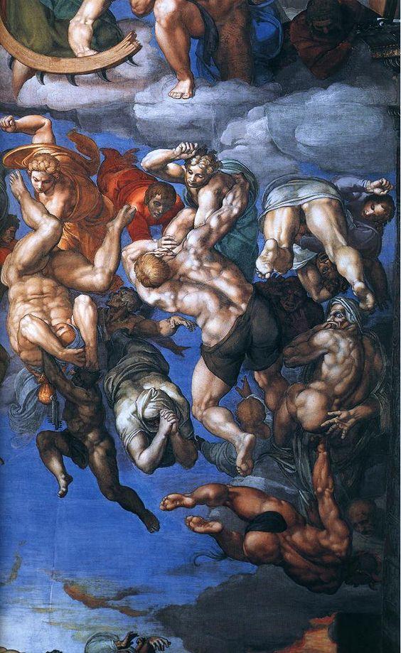 MICHELANGELO BUONARROTI - (1475 - 1564) - Sistine Chapel - Last Judgment (detail).