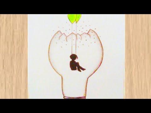 Alone Boy Drawing Inside Buld رسومات سهلة رسمة معبرة لولد فوق الأرجوحة رسم بنات Youtube Drawings Drop Earrings
