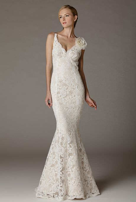 Brides: Aria. Backless mermaid gown in embroidered lace. Made in USA. Again, lose the flower.