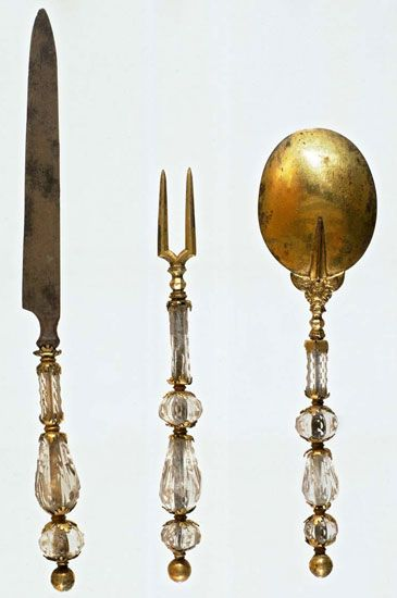 Knife, fork and spoon 16th century, Venice Silver and rock crystal Museo Correr, Musei Civici Veneziani, Venice