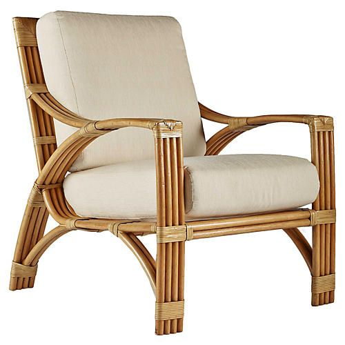 Alexa Rattan Lounge Chair, Natural