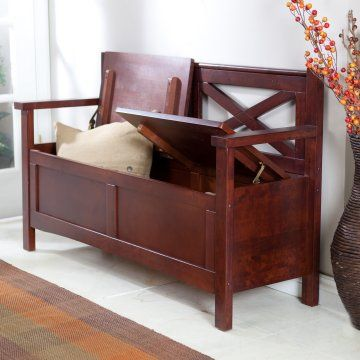Harper X-Back Storage Bench - Wenge Dark Wood - Indoor Benches at Hayneedle. $219.  Add cushions?