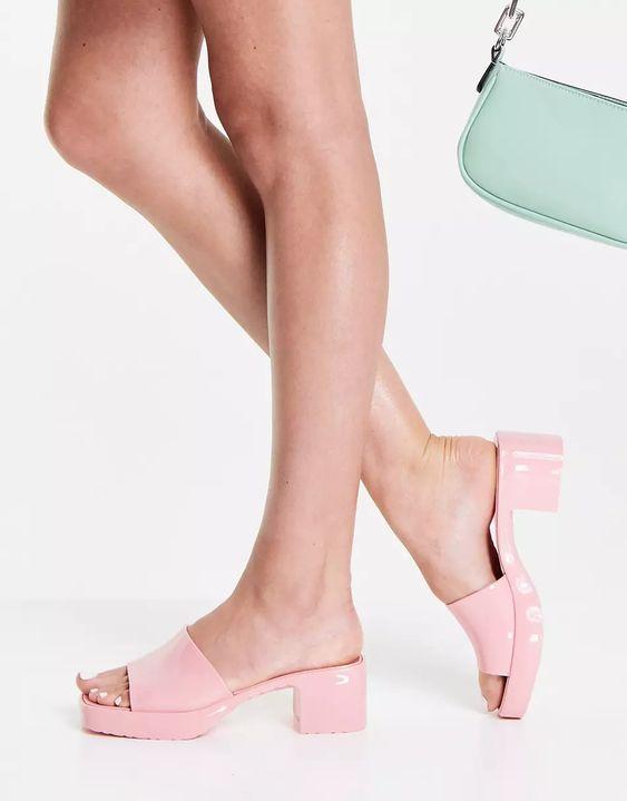 Ego Rhea mid heel mule sandals in pink | ASOS