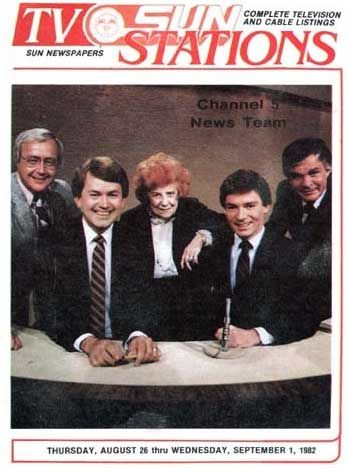 Channel 5 Newsteam in 1982 - Dorothy Fuldheim, Gib Shanley, Ted Henry, Don Webster