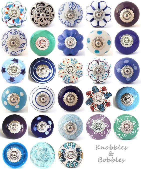 Blue purple ceramic knobs drawer pulls cupboard door knobs porcelain china K&B