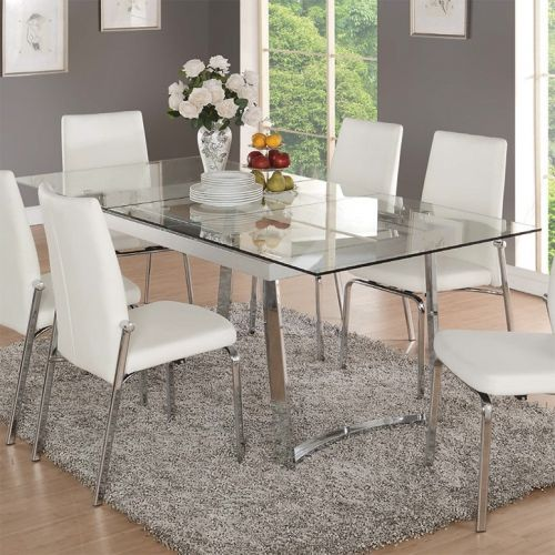 Acme Furniture 73150 Osias 63 Extension Dining Table Chrome Glass In 2020 Glass Dining Table Decor Glass Dining Room Table White Dinning Room Table