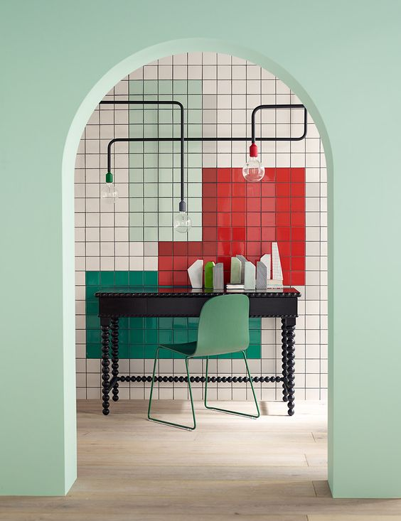 Nice geometrical deco - Unique industrial pipetube - light fittings, multi-colour wall tiling - mint paint wall