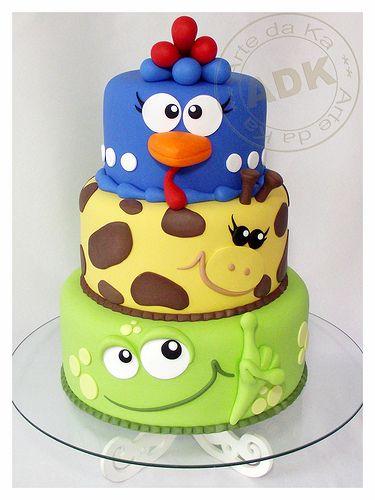 Funny animal cake! Great kid birthday cake or baby shower.