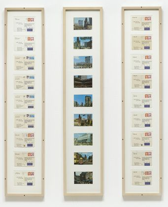 i got up 1977 ink and stamps on postcards in three frames on kawara diploma ilo pinterest travel memories memories and art paintings