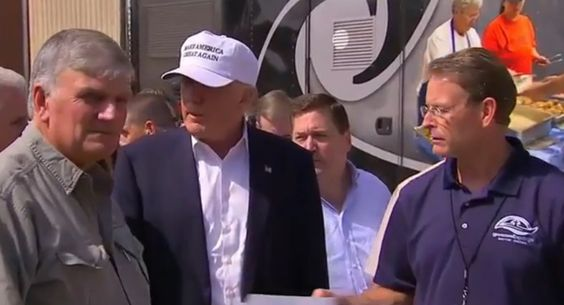 Trump and Pence Visit with Franklin Graham and Samaritans Purse Flood Relief in…