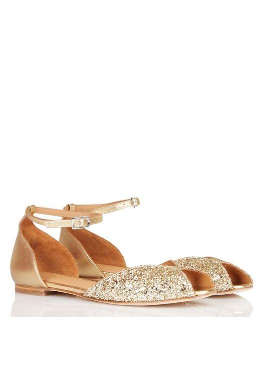 Sandales plates à paillettes en cuir Doré by EMMA GO
