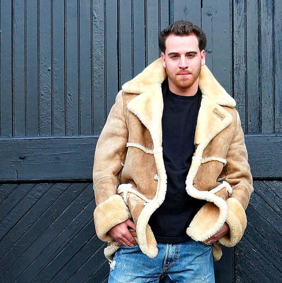 Mens Tan SHEARLING Suede Jacke Warm robuste von RenegadeRevival