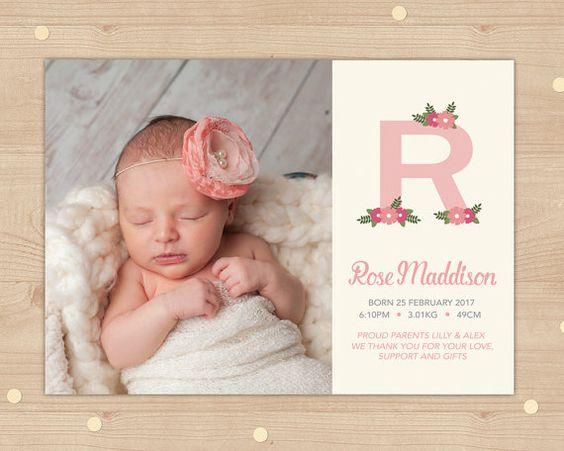 Monogram baby girls Girl birth announcements and Births – Pinterest Birth Announcement